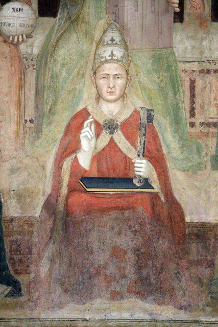Andrea di Bonaiuto - Trionfo di San Tommaso d'Aquino - Clemente V