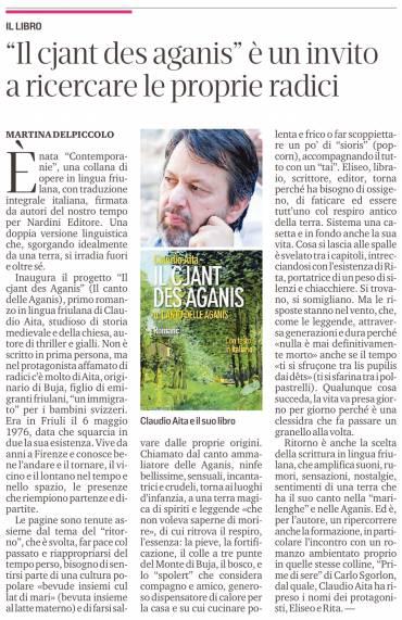 """Martina Delpiccolo sul Messaggero Veneto del 04 aprile 2021 su """"Il cjant des Aganis"""""""
